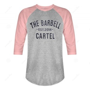 The Barbell Cartel 3/4 Baseball Tee Pink