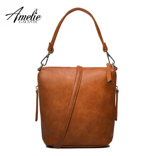 80cde5ac75f AMELIE GALANTI Women's Small Leather Bag with Zipper Shoulder strap ...
