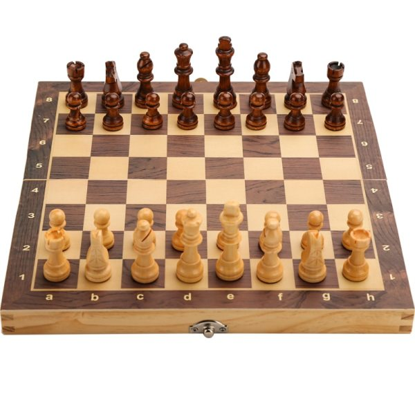 Large Magnetic Wooden Folding Chess Set Felted Game Board 39cm*39cm Interior Storage Adult Kids Gift Family Game Chess Board