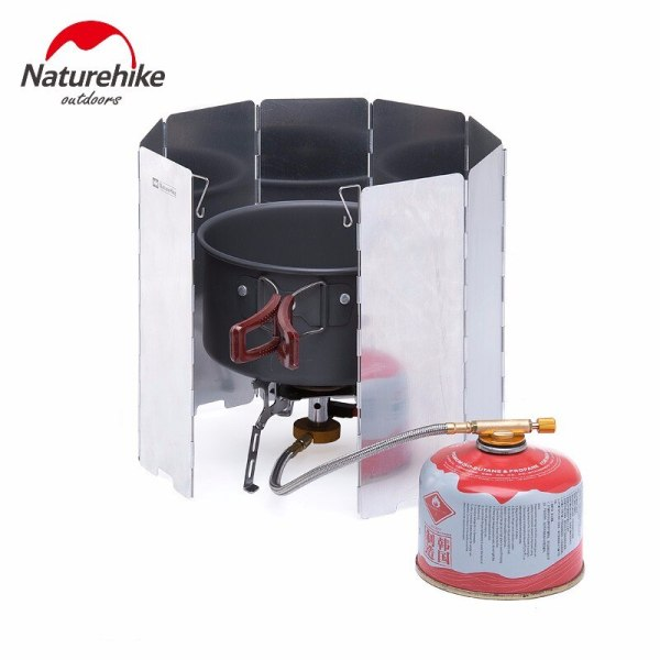 Naturhike Ultralight Outdoor Camping Stoves 8 Plates Foldable Cooker Gas Stove Wind Shield Screens Aluminum Windshield