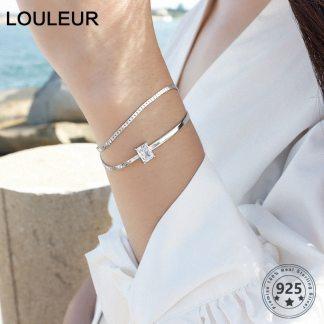925 sterling silver AAAA Zircon Double Layer Bracelets Fashion City Wild Square Zircon Adjustable Bracelets For Women Jewelry