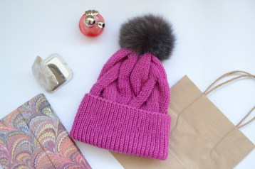 cable knit hat with fur pompom by ShopLaLune