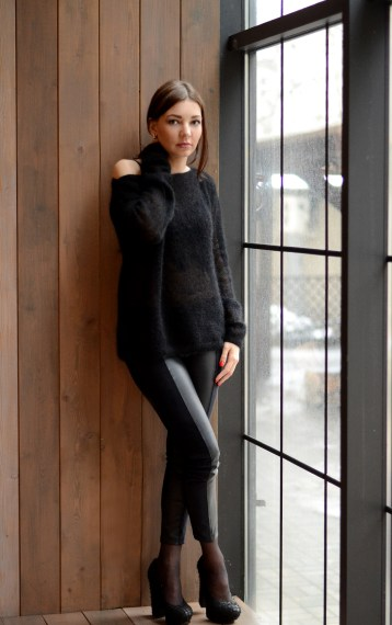 street outfit with cozy mohair knit sweater and leggins //ShopLaLune