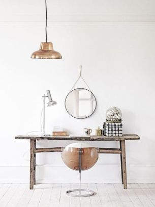 working table with round mirror