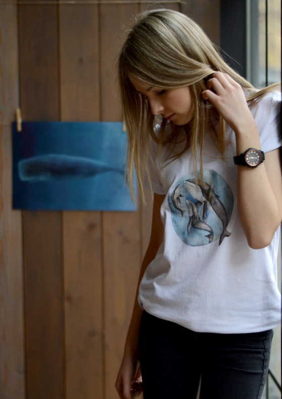 teens t-shirt with whales