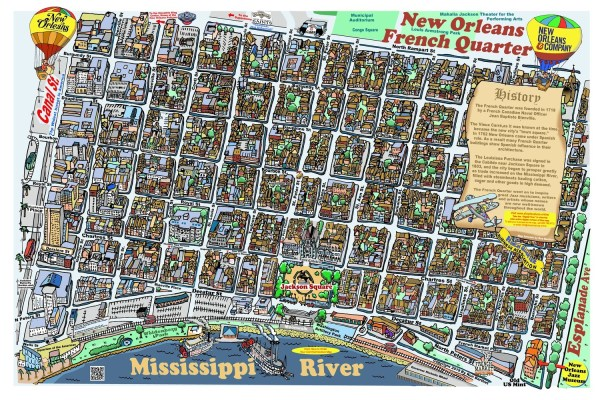 French Quarter Caricature Map