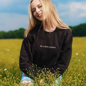 Be A Nice Human | Pastel Coloured | Embroidered Jumper