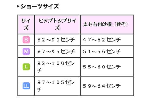 トラタニショーツのサイズ表