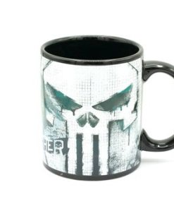 The Punisher logo on ceramic coffee cup