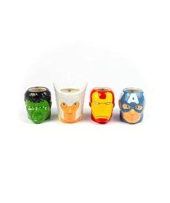 Set of four coffee mugs shaped like The Avenger's heads