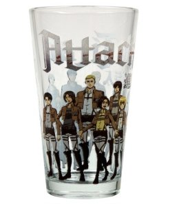 Front view of Attack on Titan characters on pint glass
