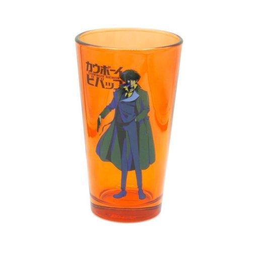 Orange pint glass featuring Cowboy Bebop