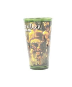 Green pint glass featuring Attack on Titan characters