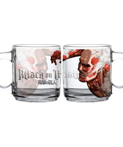Attack on Titan clear coffee mug front and back