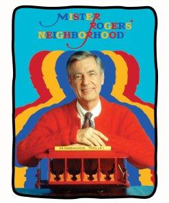 Mr Rogers colorful sherpa blanket