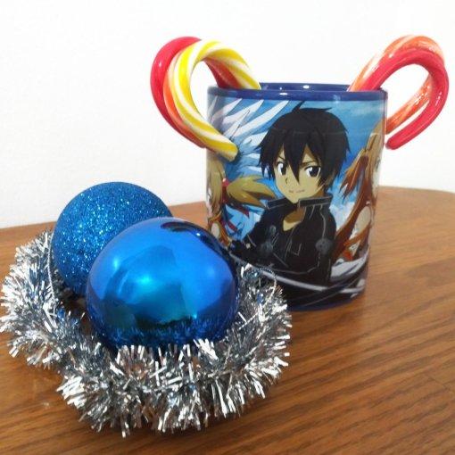 Sword Art Online coffee mug decorated for Christmas
