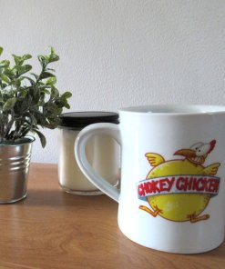 Chokey Chicken coffee mug on table