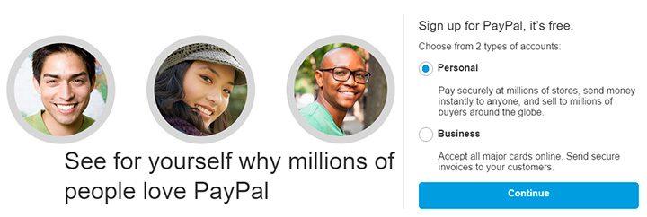 creare cont personal paypal