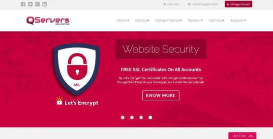 Qservers Web Hosting Homepage