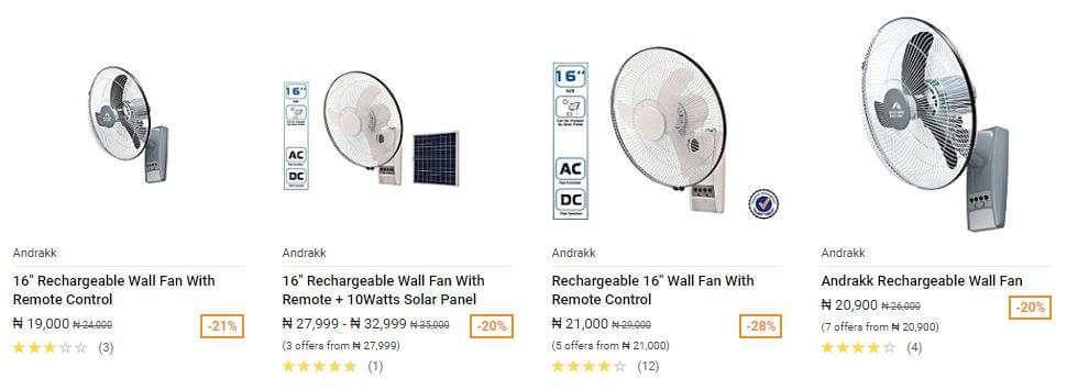 Andrakk Wall Rechargeable Fan