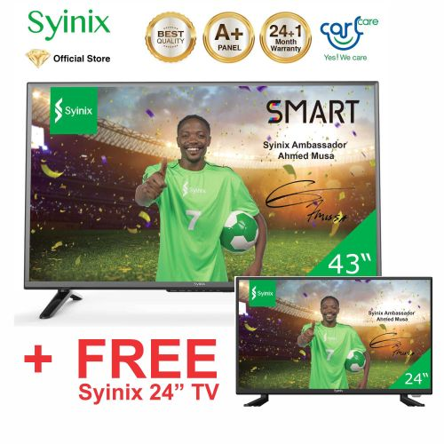 """43 Inch 43T730F Android FHD Smart TV + 24"""" Inch HD LED TV- Black"""