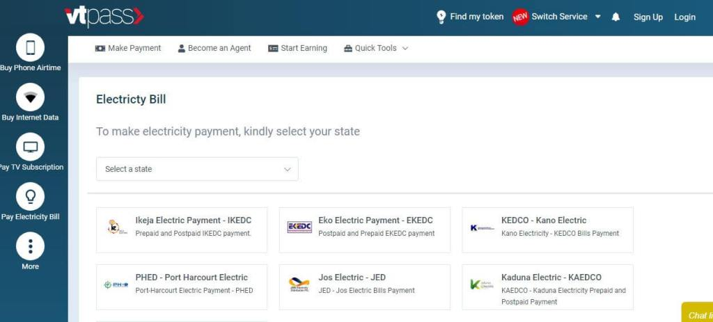 Electricity payment with Vtpass