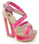 Shiekh Shoes -Shiekh Womens nude neon fuchsia open block wedge