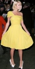 Discount Prom Dresses -Paris-Hilton-Fashion-Yellow-Satin-Chiffon-Celebrity-Dress