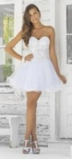 Discount Prom Dresses -White Strapless Natural Short Organza Prom Dress With Appliques And Beading