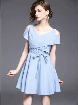 Buy European Fashion Dresses Online For Women   Acchajee Shopping In Stock Summer Fashion V neck Off Shoulder Tying Waist A line Dress