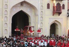 City palace witnessing the procession of teej