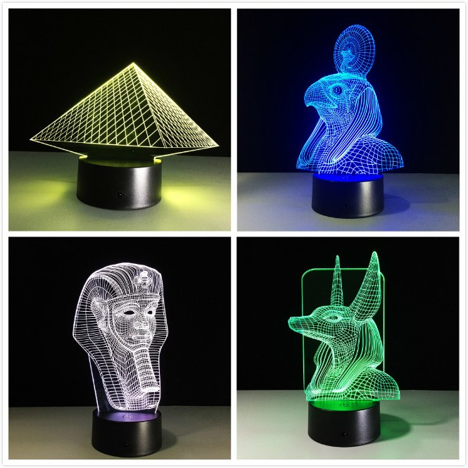 Ancient Egypt Anubis 3D LED Lamp Night Light Illusion 7 Colors Changed Xmas Toy Gift USB Light Friends Gift Home Decor Drop Ship