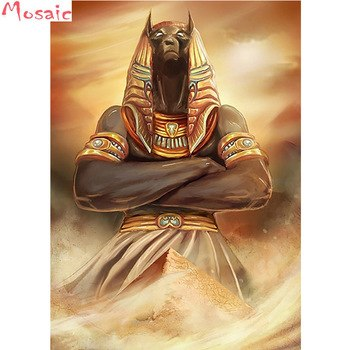 Full Square Diamond 5D DIY Diamond Painting Anubis And The Pyramids-Ancient Egypt-Egyptian Art Cross Stitch Rhinestone Mosaic