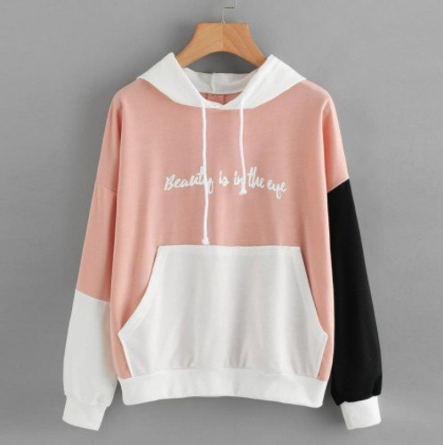 Sale 2018 autumn chic casual hooded woman sweatshirt color block long sleeve pullover female sweatshirt hot sales