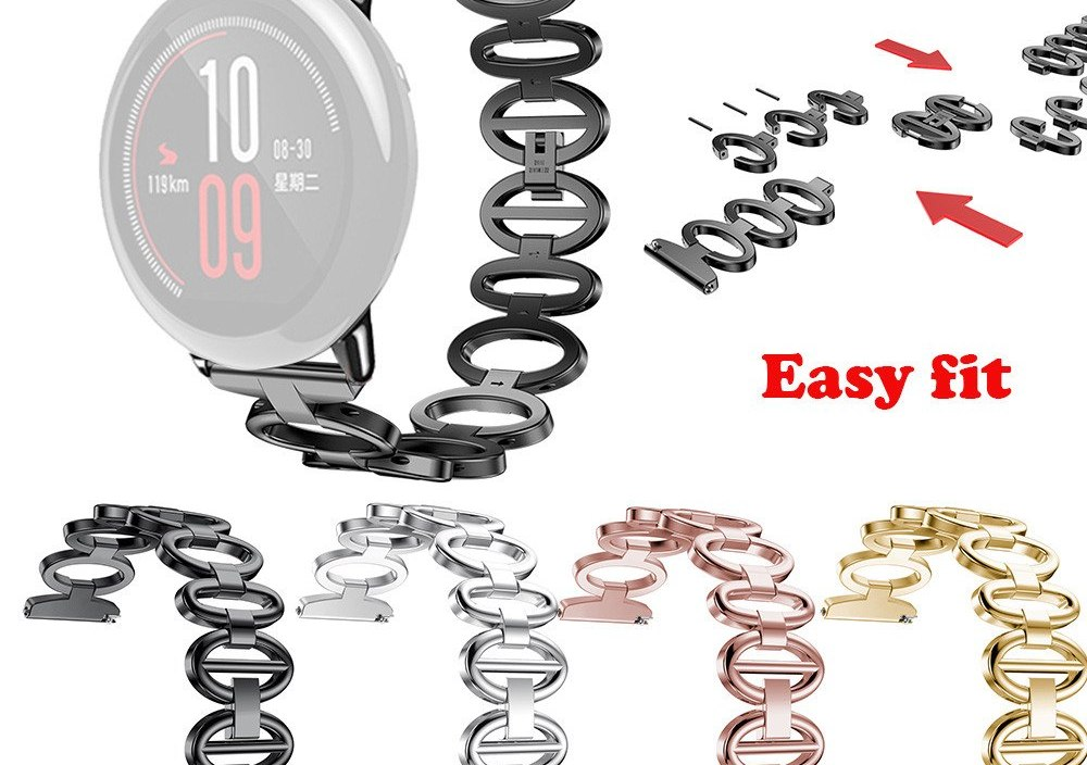 Smart Watch Strap For  Xiaomi HUAMI AMAZFIT Smart Watch Band Stainless Steel Chain Style Bracelet Smart Watch Band Strap l1016#2