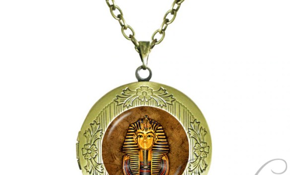 Egyptian Pharaoh Locket Pendant Choker Ancient Egypt Jewelry Egypt Tutankhamun Necklace Historical Glass Cabochon Necklaces