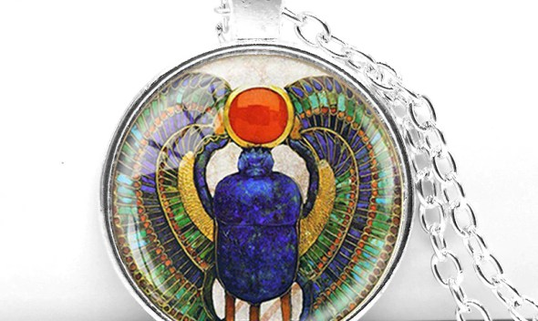 Wholesale 28 MM Round Glass Dome Egyptian Scarab Pendant Choker Necklace , Ancient Egypt Jewelry, Egypt Necklace 2017