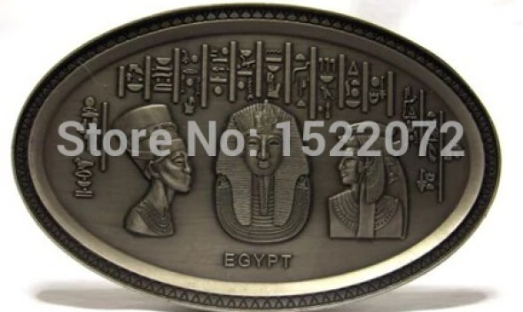 High quality and low price Egyptian Pharoh Bust metal Plate Plaque Ancient Egypt oval Egypt medallion cheap custom antique coins