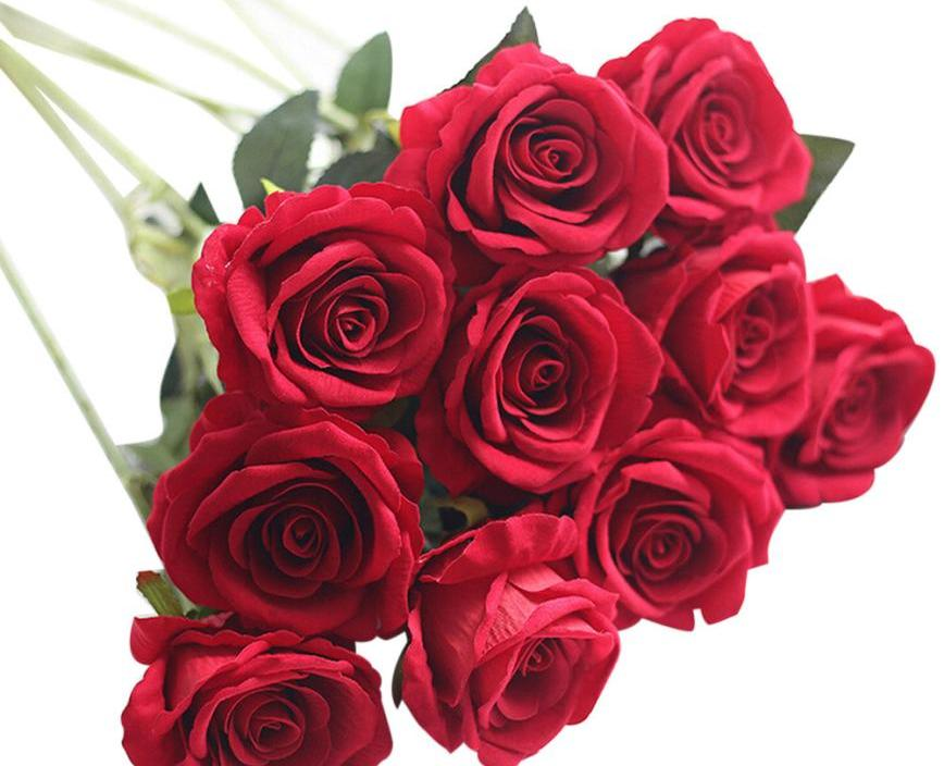 Home Decor Artificial Fake Flowers 10 Head Latex Touch Rose Flowers For wedding Party Home Design Bouquet Decor         mar21
