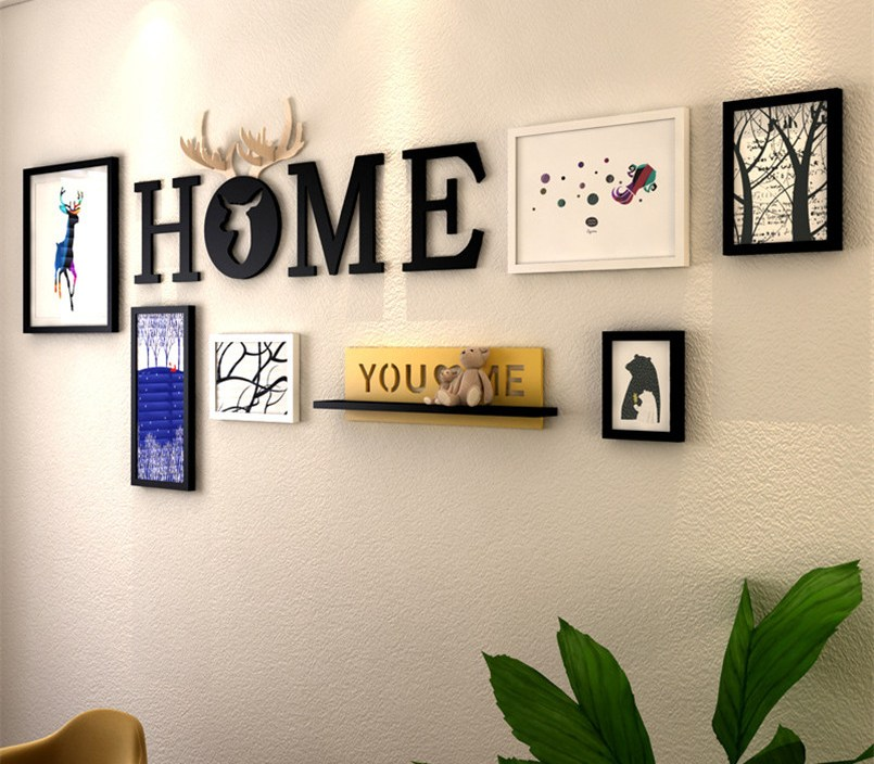 Home Design 6pcs Picture Frames+Letters+Shelf Wall Decoration Photo Frame Set Wood Picture Frame Set Painting Portafoto Cornice
