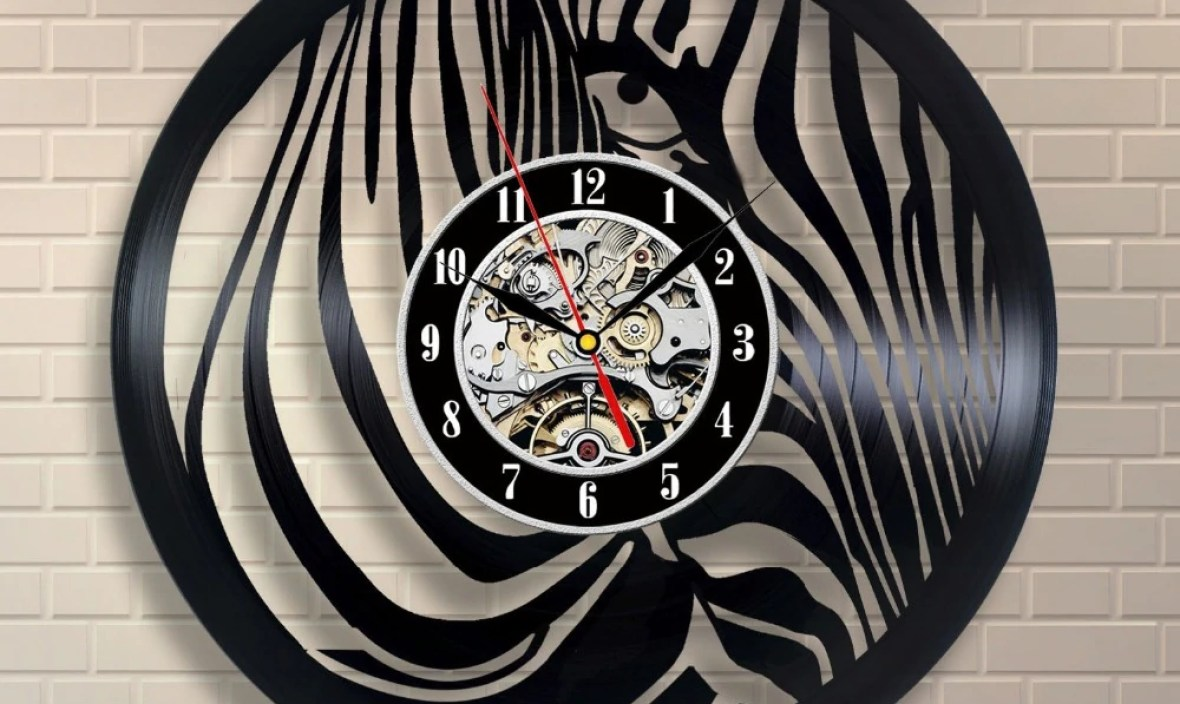 2017 Zebra Animal Vinyl Record wall clock Art Room Decor Home Design horloge murale design moderne