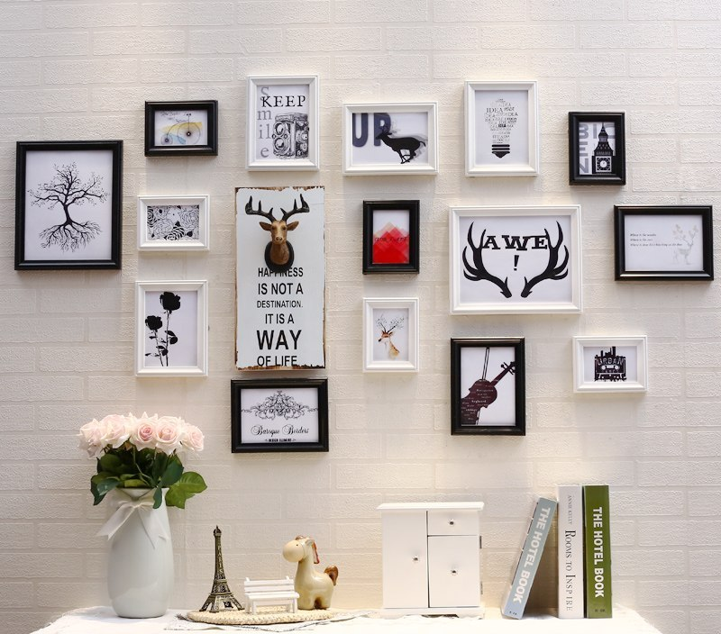 Multi-Frame European Stype Wood Picture Frame Set Home Design Wedding Photo Frame Decoration Maison Vintage Photo Frame Wall