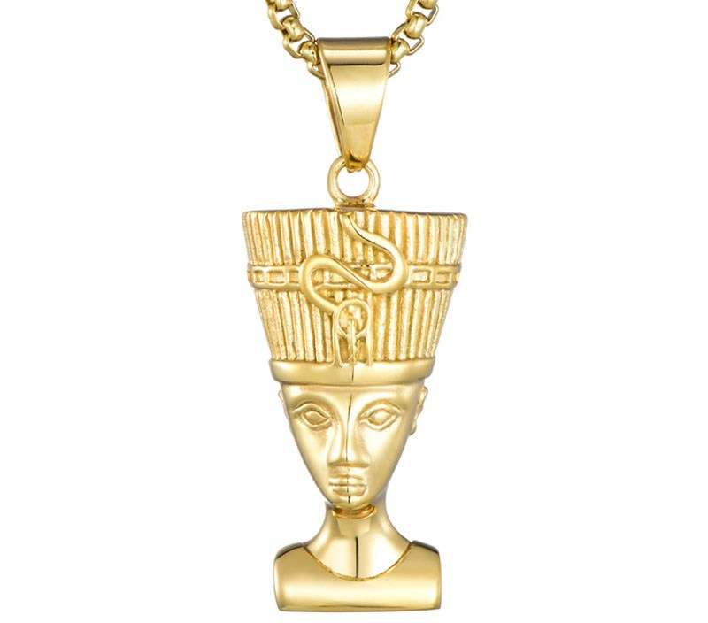Men Women Gold-color Pharaoh Necklaces Chain Jewelry Pharaonic Egyptian Goddess Isis Ancient Egypt God Pendant Necklace JON173