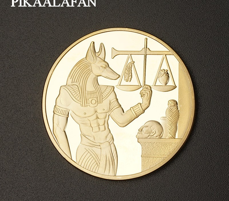 PIKAALAFAN Ancient Egypt Anubis Gold  Silver Plated 40mm Pyramid Commemorative Coin Tourism Gift