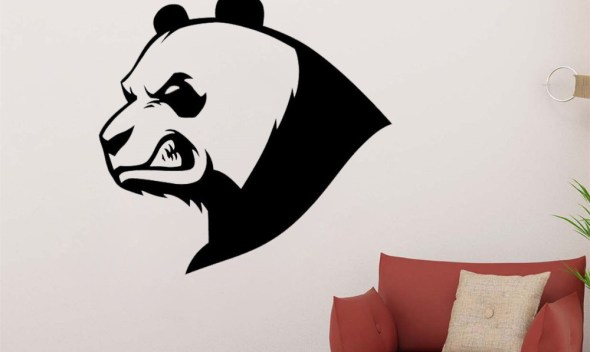 JOYRESIDE Fierce Panda Bear Sticker Animals Decals Vinyl Bamboo Wall Kids Boys Girls Bedroom Living room Home Design Mural A1382