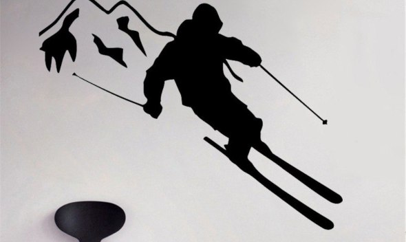 JOYRESIDE Sticker Sports Skier Skiing Decals Vinyl Mountain Kids Boys Room Living Room Interior Bedroom Home Design Mural A1364