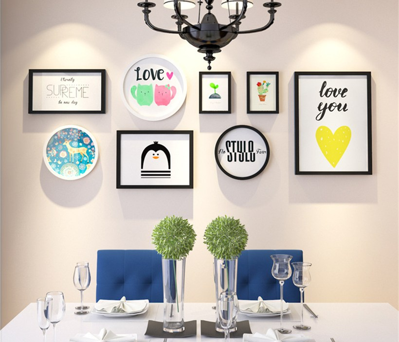 Rectangle Round Multi-Frame Family Photo Frames Art Picture Holder Wedding Photo Frams Set Home Design Wooden Picture Frame Wall
