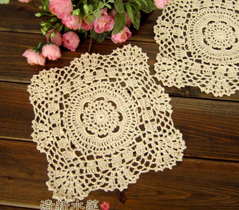 French design beautiful design crochet knitted doily  rustic 100% decoration cotton pad mat for home decor cup coaster placemat