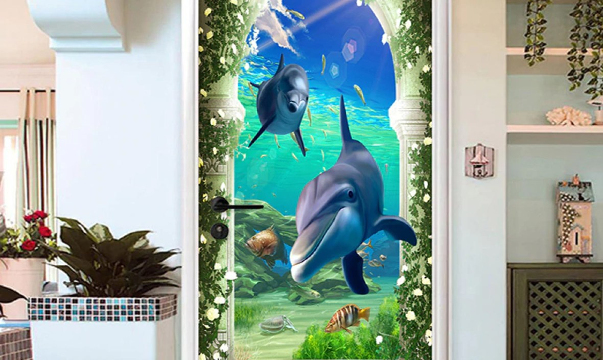 3D Rome Column Undersea World Door Sticker Kid's Bedroom Home Decor Wall Decals PVC Self-Adhesive Waterproof Home Design Poster