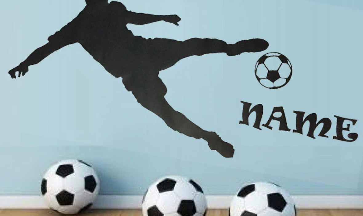 FARLEOPARD Personalised Name Football Player Silhouette Play Wall Stickers Boy Bedroom Home Decor DIY Custom New Design huang094